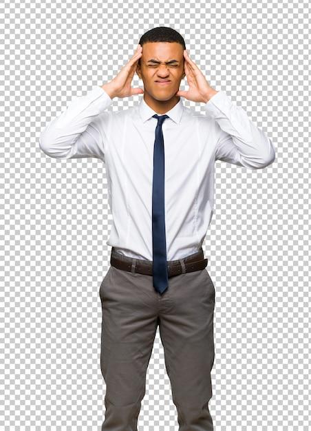 Jeune homme d'affaires américain afro malheureux et frustré par quelque chose PSD Premium