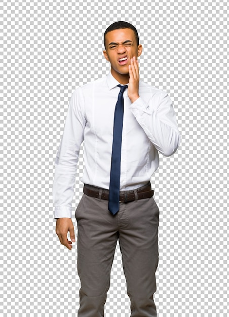 Jeune Homme D'affaires Américain Afro Avec Maux De Dents PSD Premium