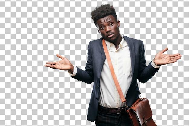 Jeune Homme D'affaires Noir Avec Un Regard Interrogateur Et Confus PSD Premium