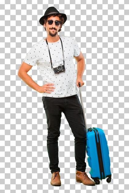 Jeune homme barbu voyageur cool avec un sac. concept de vacances PSD Premium