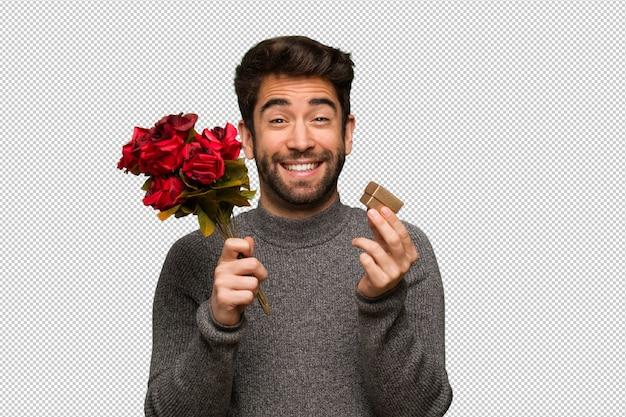 Jeune homme célébrant la saint valentin PSD Premium