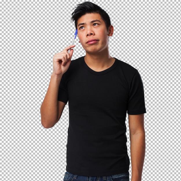 Jeune Homme Chinois Pensant PSD Premium