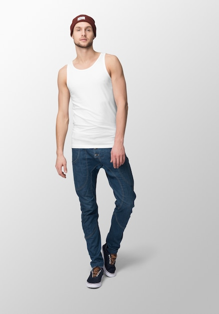 Jeune Homme En Débardeur Blanc PSD Premium