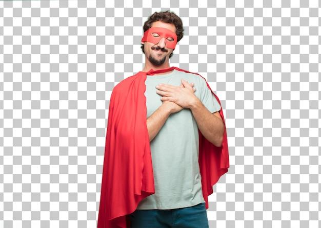 Jeune homme fou de super héros. concept amoureux PSD Premium