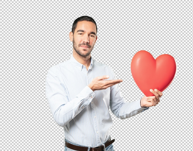 Jeune homme intelligent à la saint-valentin PSD Premium