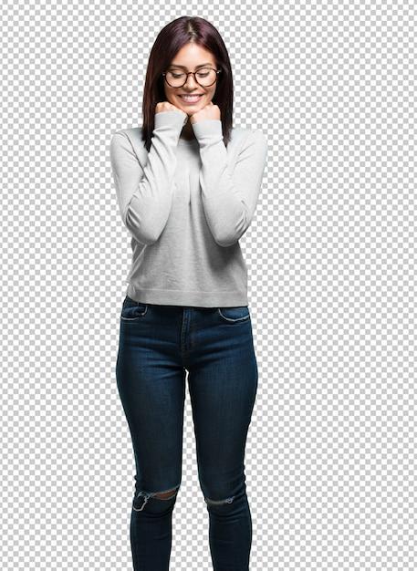 Jeune Jolie Femme Très Heureuse Et Excitée PSD Premium