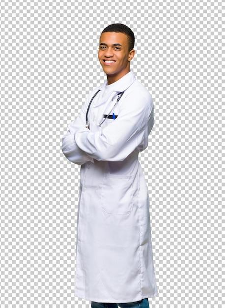 Jeune Médecin Afro-américain Regardant Par-dessus L'épaule Avec Un Sourire PSD Premium