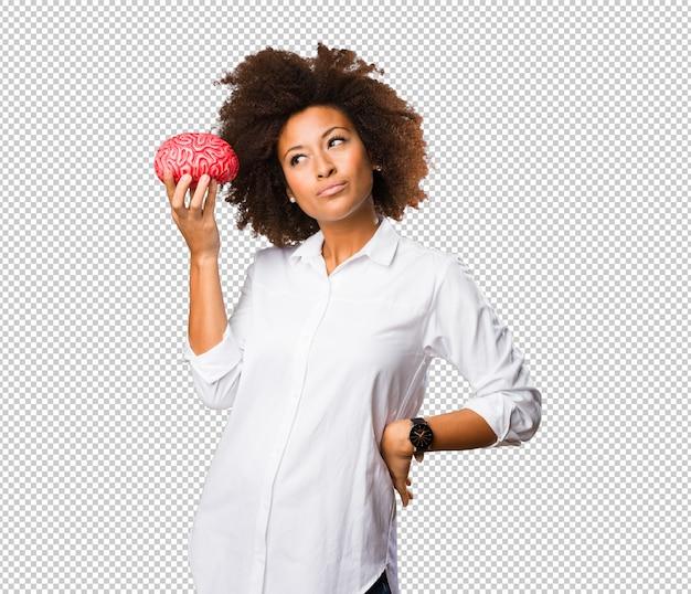 Jeune, Noir, Femme, Tenue, Cerveau, Forme PSD Premium