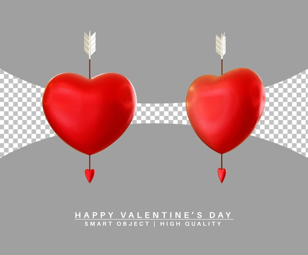 Joli Coeur Avec Cupidon Flèche Saint Valentin Rendu 3d Isolé PSD Premium