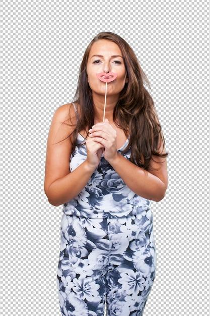 Jolie femme jouant avec des accessoires de fête PSD Premium