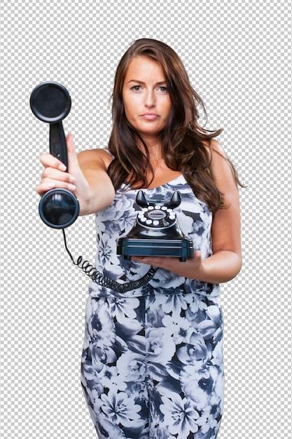 Jolie Femme Parlant Au Téléphone PSD Premium