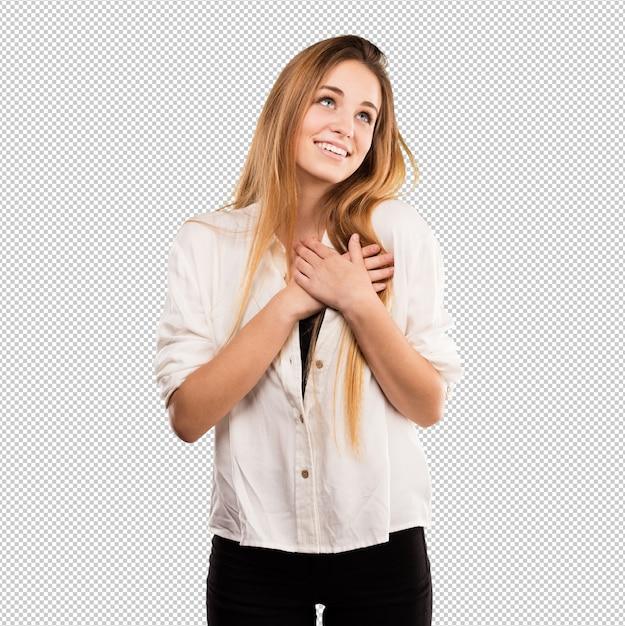 Jolie jeune femme amoureuse PSD Premium