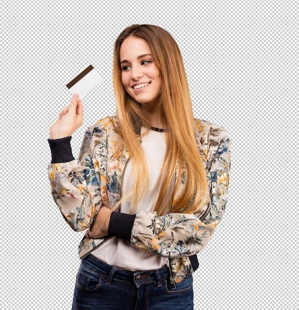 Jolie jeune femme utilisant une carte de crédit PSD Premium