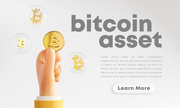 Jolie Main Tenant Le Rendu De Bulle Bitcoin PSD Premium
