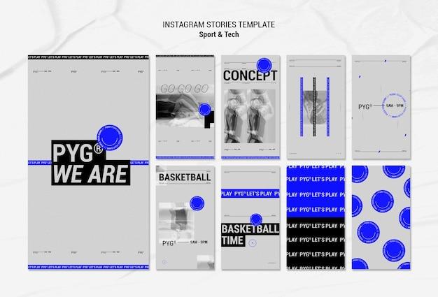 Jouez Au Basket-ball Concept Instagram Stories Psd gratuit