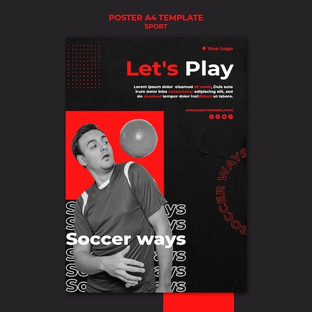 Jouons Au Football Modèle D'affiche Psd gratuit