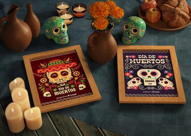 Jour De Morts Maquettes Mexicaines Traditionnelles Avec Des Crânes Psd gratuit
