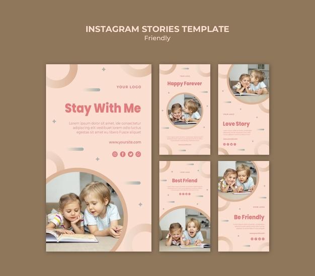 Journée De L'amitié Avec Les Enfants Instagram Stories Psd gratuit