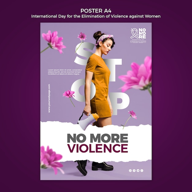 Journée Internationale Pour L'élimination De La Violence à L'égard Des Femmes Poster A4 Psd gratuit