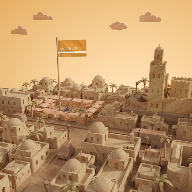 Journée Miniature Des Villes Modèle 3d Psd gratuit