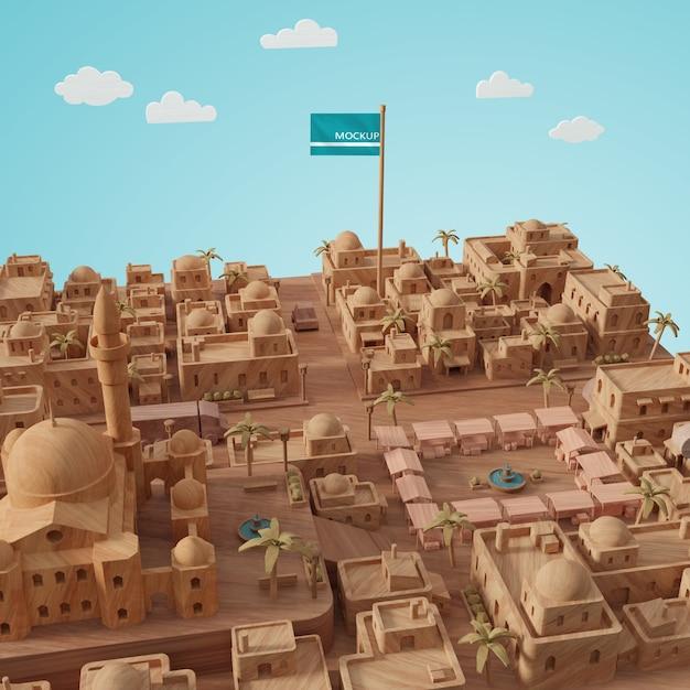 Journée Mondiale Des Villes Modèle 3d Avec Maquette Psd gratuit