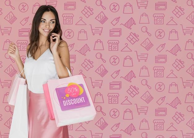 Journée shopping femme à la mode Psd gratuit