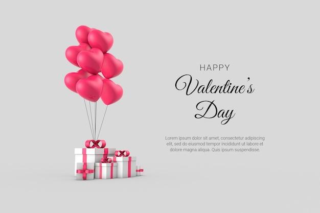 Joyeuse Saint-valentin Avec Composition Créative Romantique 3d PSD Premium