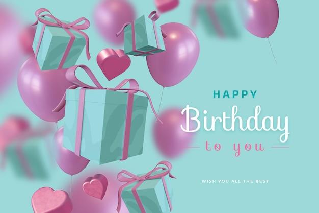 Joyeux Anniversaire Avec Boîte-cadeau Ballon Amour Maquette De Rendu 3d PSD Premium