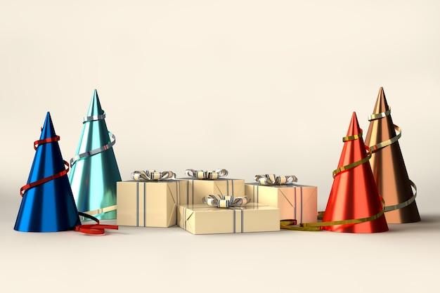 Joyeux Noël Et Bonne Année Fête De Célébration Avec Des Décorations De Boîte-cadeau PSD Premium