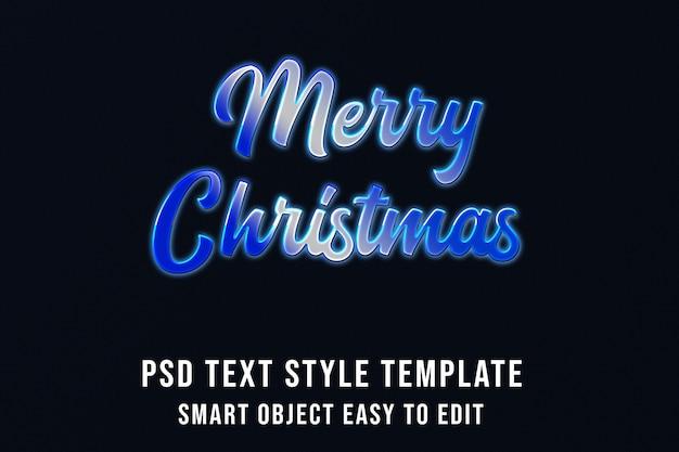 Joyeux noël en cold blue effet de texte PSD Premium