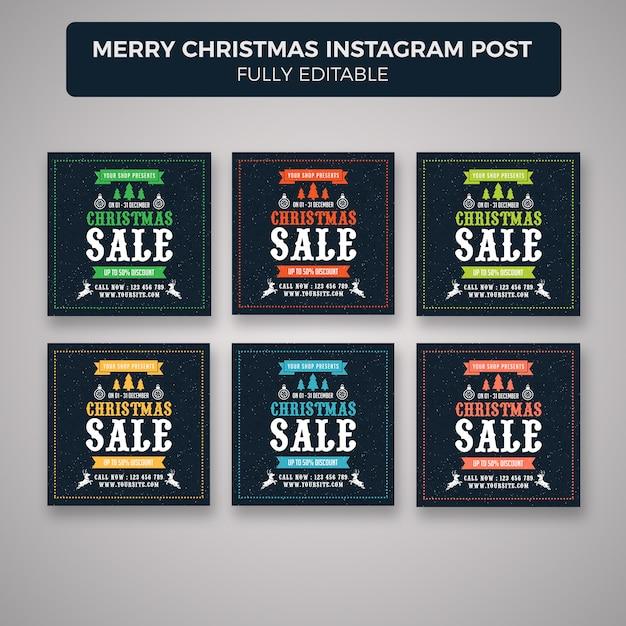 Joyeux Noël Instagram Poster Modèle De Bannière PSD Premium