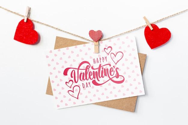 Joyeux Saint Valentin Lettrage Sur Carte Blanche Psd gratuit