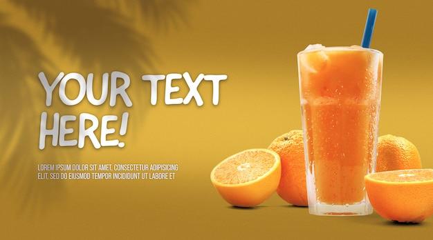 Jus D'orange Fraîchement Pressé Dans Une Grande Maquette En Verre PSD Premium