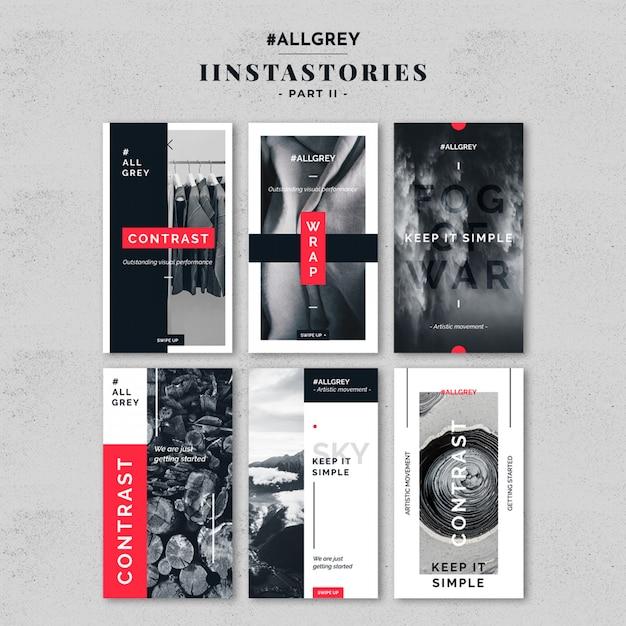 Kit de modèles d'histoire instagram gris PSD Premium