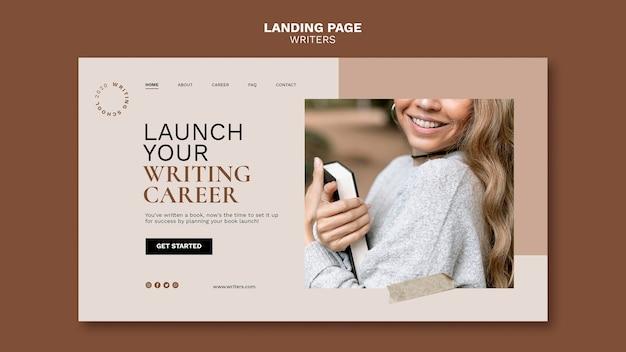 Lancez La Page De Destination De Votre Carrière D'écrivain Psd gratuit