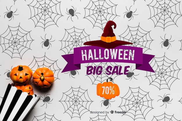 Lay Plat Du Concept De Citrouilles D'halloween Psd gratuit