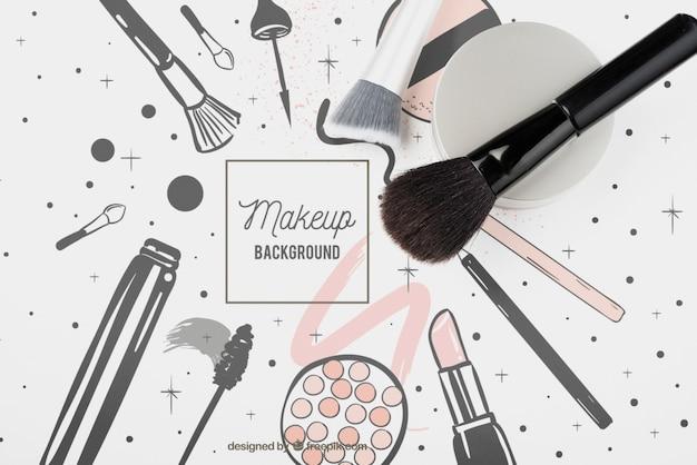 Lay plat de maquette de brosse cosmétique Psd gratuit