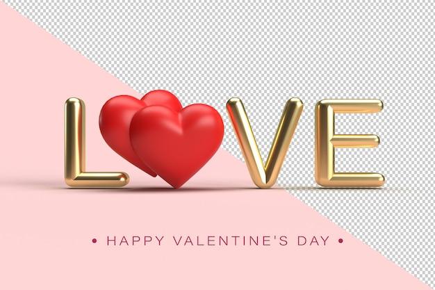 Lettrage D'amour Or Avec Des Coeurs Rouges Avec Une Flèche De Cupidon En Rendu 3d Isolé PSD Premium