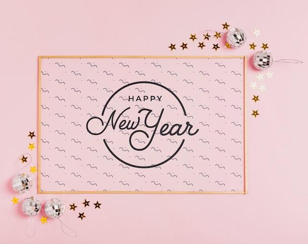 Lettrage de nouvel an avec cadre simple Psd gratuit