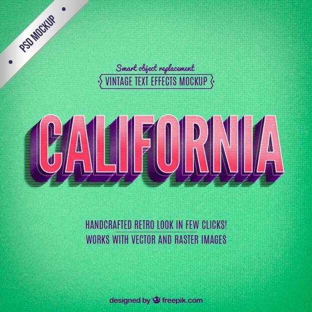 Lettrage Rétro Californie Psd gratuit