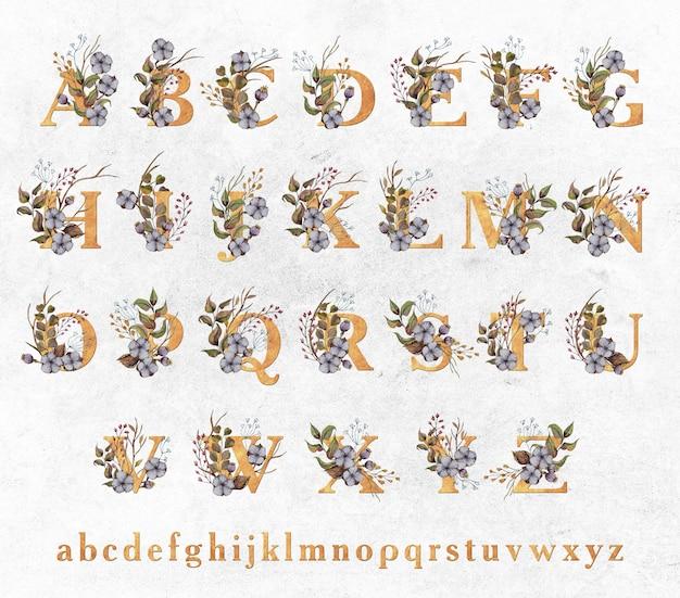 Lettres d'or avec des feuilles d'aquarelle et des fleurs de coton PSD Premium