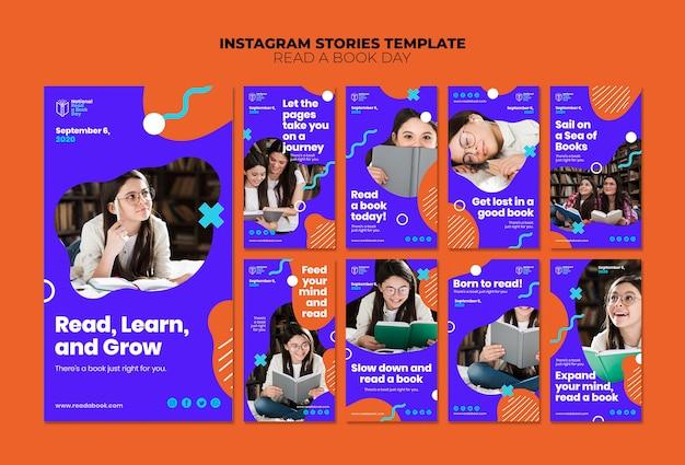 Lire Des Histoires Instagram D'une Journée Du Livre Psd gratuit