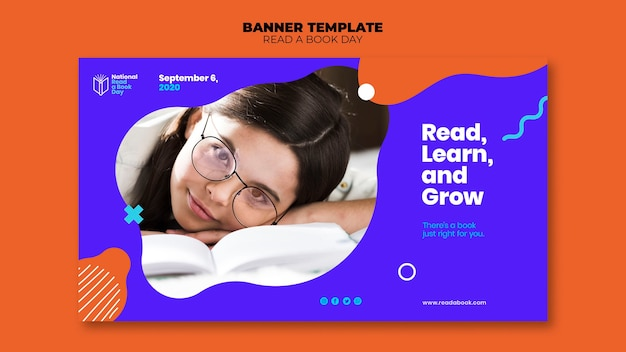 Lire Un Modèle De Bannière Pour La Journée Du Livre Psd gratuit