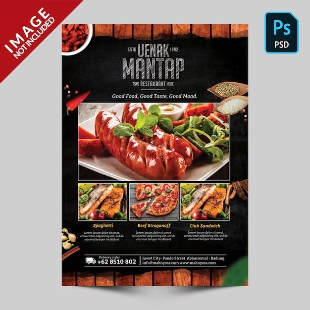 Livre menu modèle face avant PSD Premium