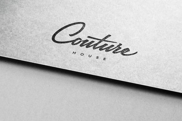 Logo Blanc Maquette Papier Texturé PSD Premium