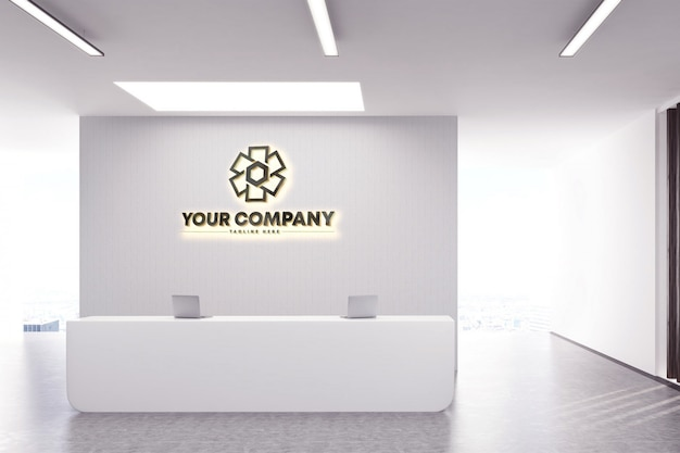 Logo D'entreprise 3d Maquette De Logo Mural PSD Premium