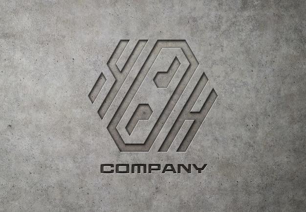 Logo Gravé Sur Maquette En Béton PSD Premium