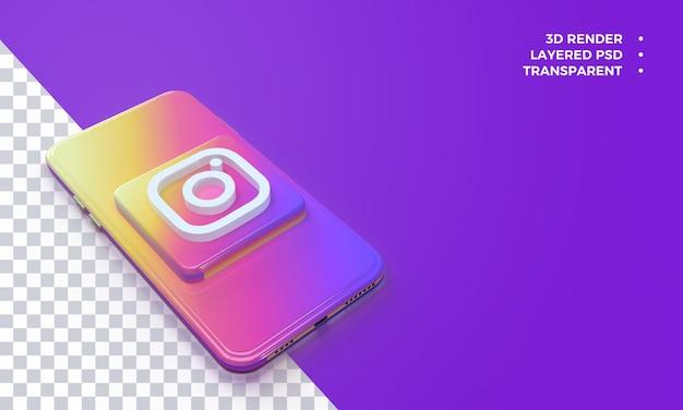 Logo Instagram 3d Au-dessus Du Rendu De Smartphone PSD Premium