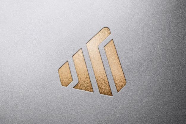 Logo maquette en cuir PSD Premium