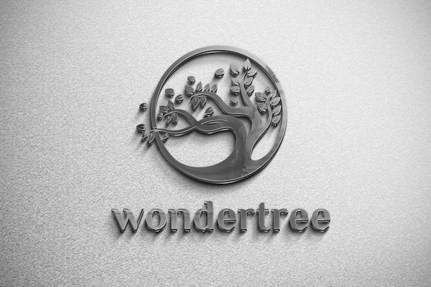 Logo De Maquette De Fer Sur Un Mur Blanc PSD Premium